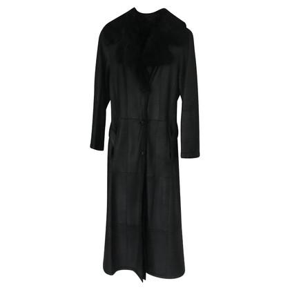 René Lezard giacca di pelle nera con pelle di pecora