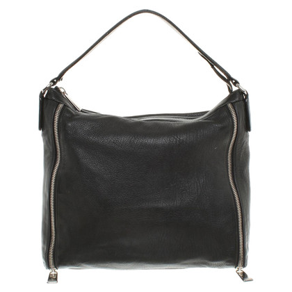 Furla black shoulder bag with 2 zippers