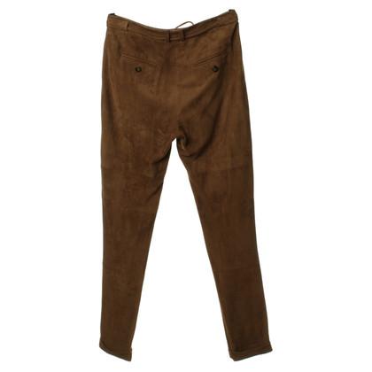 René Lezard Pantaloni di pelle marrone