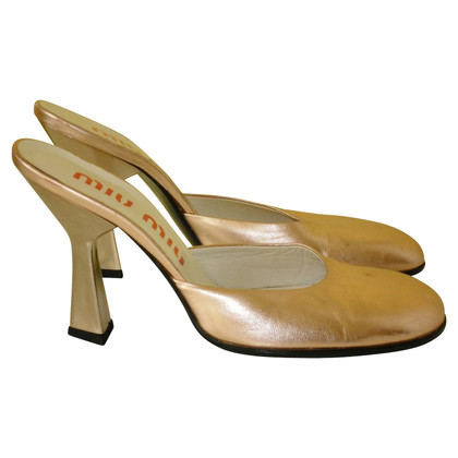 Miu Miu Gold colored mules