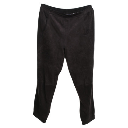 Steffen Schraut pantaloni in pelle scamosciata in marrone