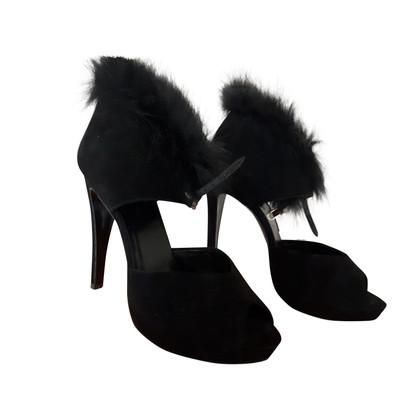 Hermès Sandaletten mit Pelzbesatz