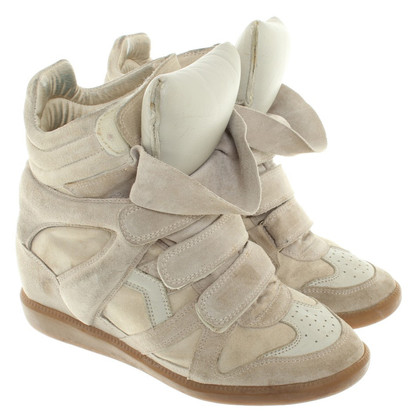 Isabel Marant scarpe da ginnastica con zeppa in beige