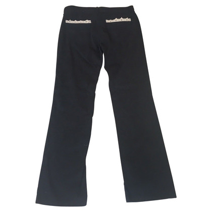Red Valentino Black Jeans with lace trim