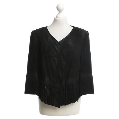 Drykorn Wild leather jacket in black