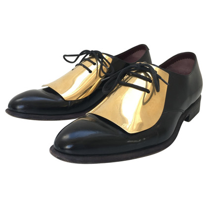 Céline Gold Metal Plate Oxfords