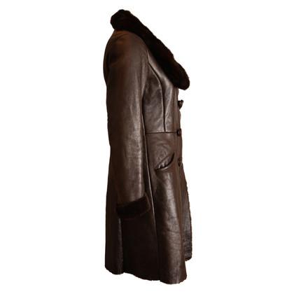 Prada Leren jas met bont kraag van nerts