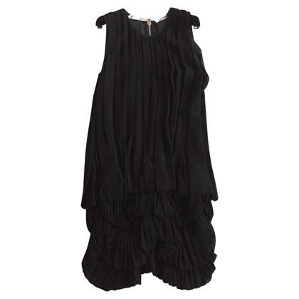 Givenchy Abito Nero in plisse con volane 38 FR