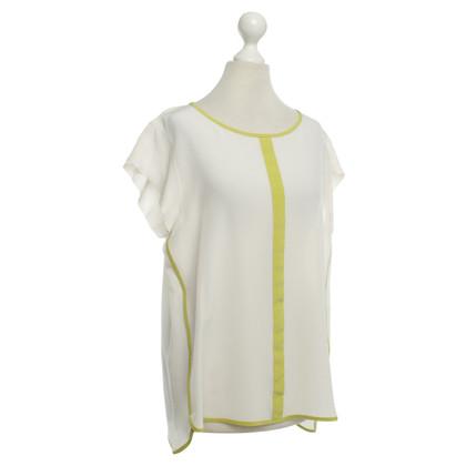 Marc Cain Zijden blouse in crème / groen