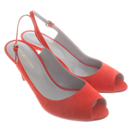 Sergio Rossi Peep toe slingback pumps in red