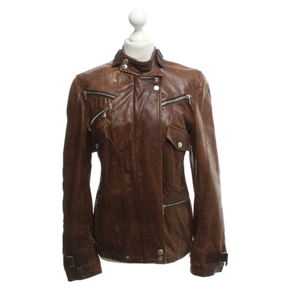 Dolce & Gabbana Veste en cuir marron