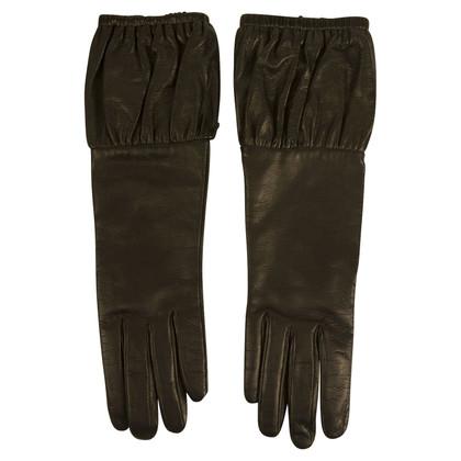 Prada Zwarte Leren Handschoenen