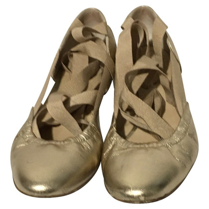 Unützer Ballerinas gold lace-up