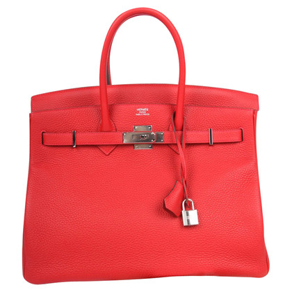 "Hermès ""Birkin Bag 35 Clémence Leather Rouge Casaque"""