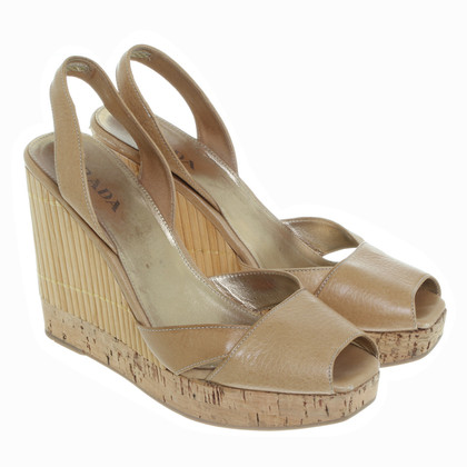 Prada Peeptoe Wedges in beige