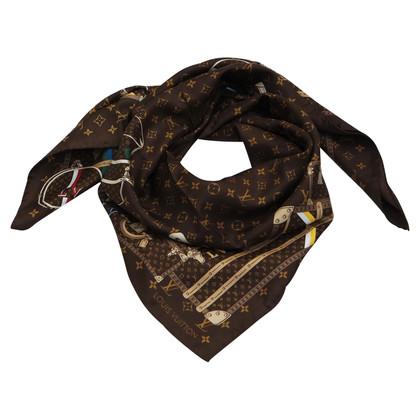Louis Vuitton Monogram trunks silk scarf
