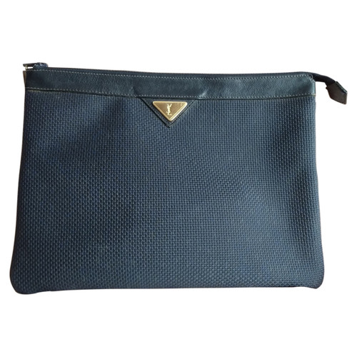 Yves Saint Laurent Clutch Bag Canvas in Blue - Second Hand Yves ... 5c9d0306bebb7