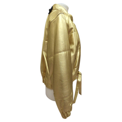 Yves Saint Laurent giacca di pelle color oro