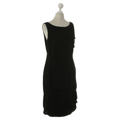 René Lezard Sheath dress with pleats in black