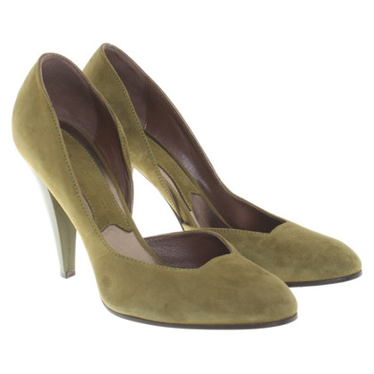 René Lezard Suede Pumps in Green