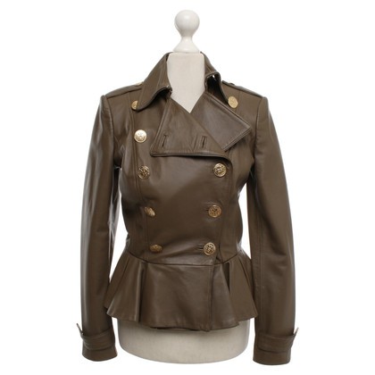 Elisabetta Franchi Leather jacket in taupe