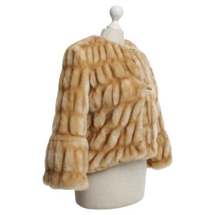 Blumarine Jacket with fur look in beige / cream
