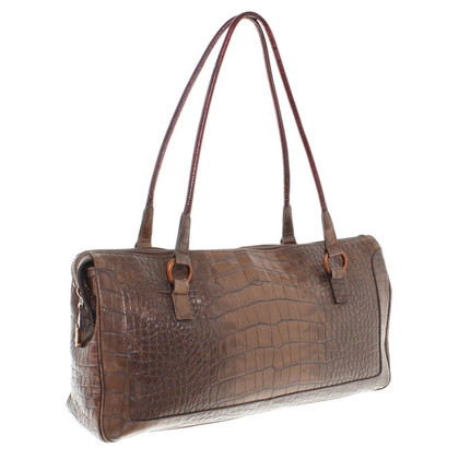Emanuel Ungaro Handbag with reptile leather embossed
