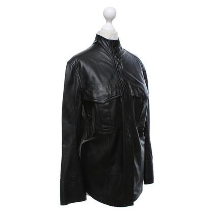Balmain Top en cuir noir