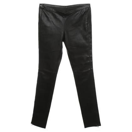 Sandro Pantaloni in pelle marrone scuro