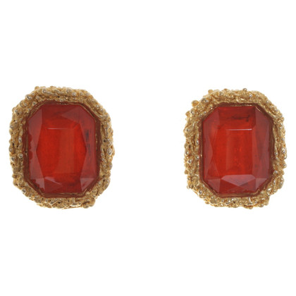Chanel Earrings in orange / gold