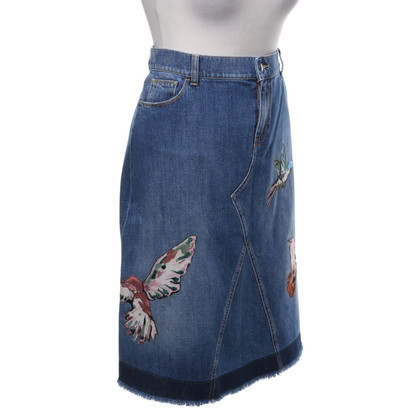 Red Valentino Denim skirt with embroidery