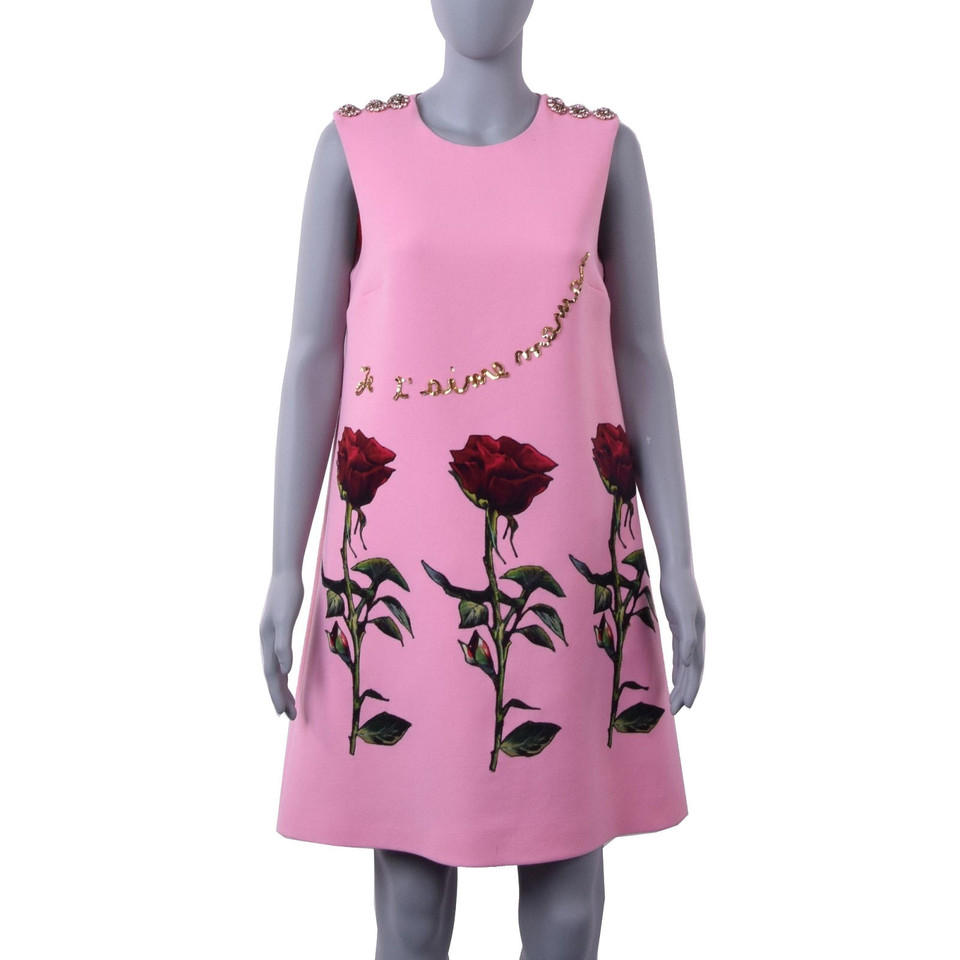 dolce gabbana kleid mit rosen applikationen second. Black Bedroom Furniture Sets. Home Design Ideas
