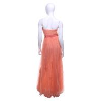 Elisabetta Franchi Pfirsichfarbenes Kleid mit Blüten