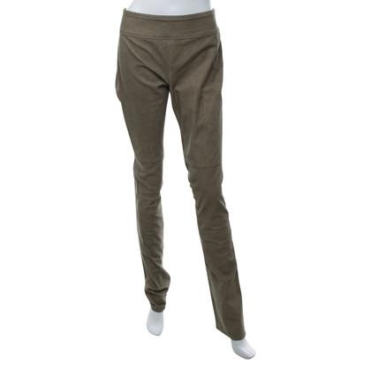 Diane von Furstenberg Leather pants in grey-brown