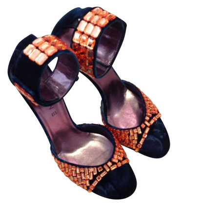 Céline Velvet sandals with Strassapplikation