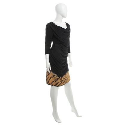 Roberto Cavalli Black dress with animal print