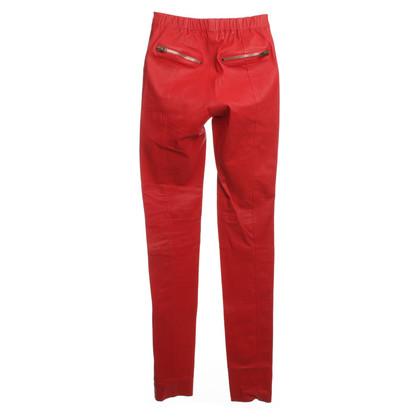 Joseph Pantaloni in pelle nel colore rosso