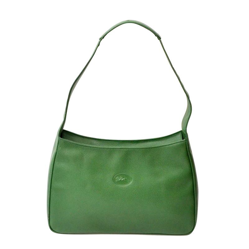 longchamp green leather bag
