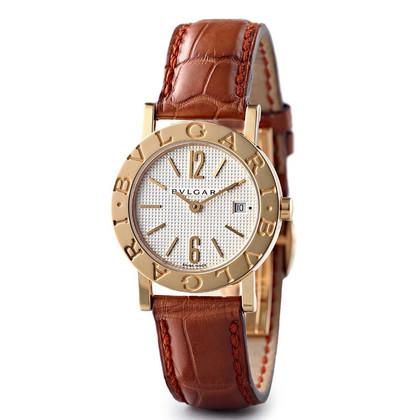 Bulgari Gouden horloge met lederen armband