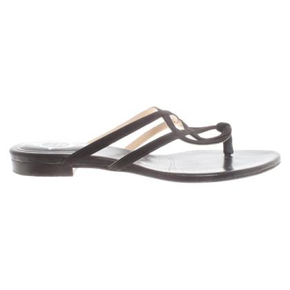 Unützer Leren sandalen in donkerbruin