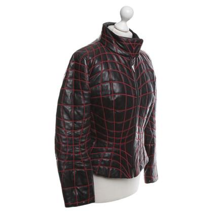Mugler Leather jacket in black / red