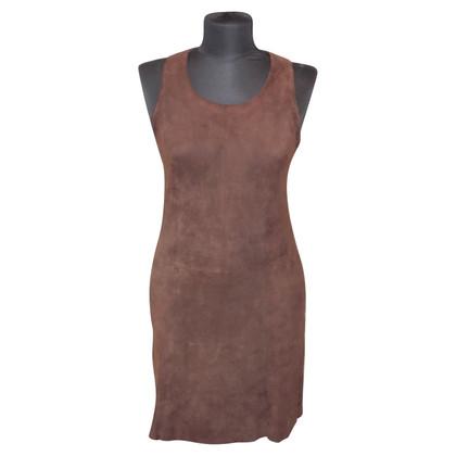 Hugo Boss Suede jurk in donkerbruin