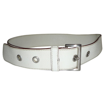 Prada LEATHER WHITE BELT BY PRADA