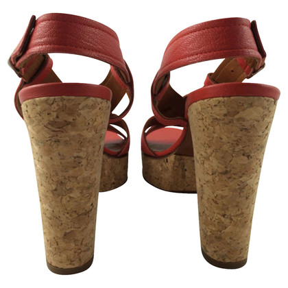 Lanvin Red Leather Sandals