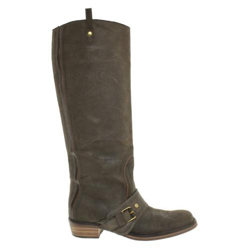 908d117a702b Bottega Veneta Boots Suede in Khaki - Second Hand Bottega Veneta ...