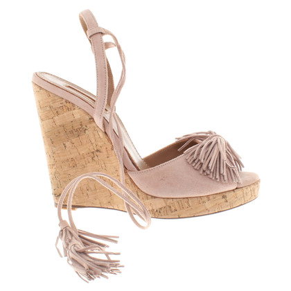 Aquazzura Wedges Suede nude