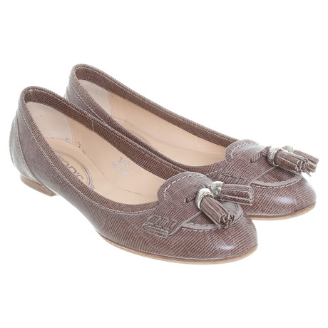 Tod's Ballerinas in Reptil-Optik Taupe