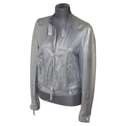 Utzon Leather jacket in gray blue