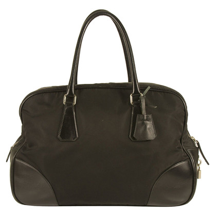 Prada Black Fabric & Leather Bowler Travel Bag