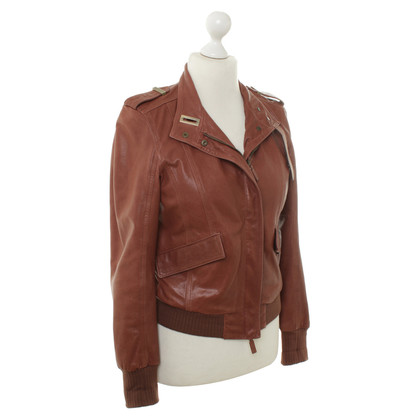 Bally Lederjacke in Rotbraun